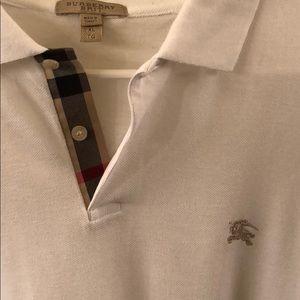 Burberry Brit White Long Sleve Polo Shirt